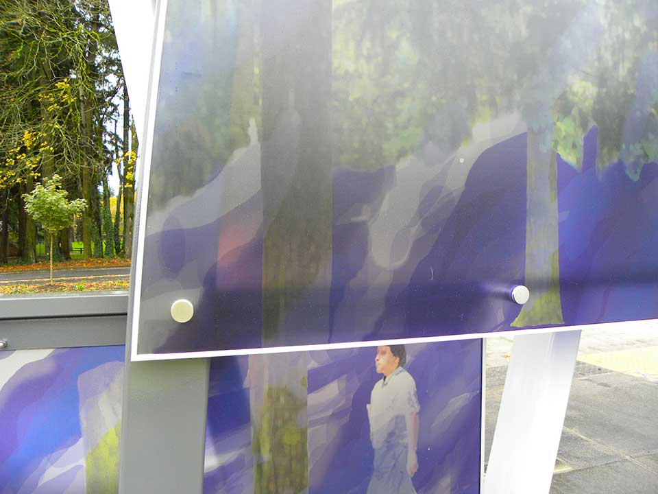 Images of people walking through trees evoke nearby Vancouver Central Park, used by people passing through the area year-round.