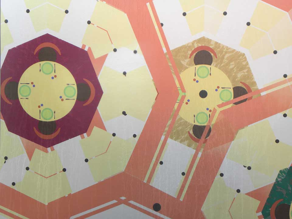 A kaleidoscope-like pattern of octagon shapes is inspired by the dome of a nearby church, and the many restaurants in the area. Within each shape are tables with place settings and chairs.